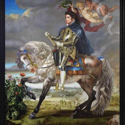 Tο πορτρέτο που δημιούργησε ο Κεχάιντ Γουίλεϊ, όπου το έργο του για τον Μάικλ ονομάζεται «Πορτρέτο Ιππασίας του Βασιλιά Φιλίππου Β'»
